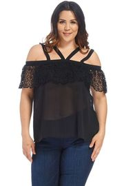 Plus Size Strappy Crochet Flounce Sheer Blouse