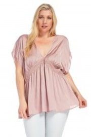 Plus Size V-neck Satin Shirring Top