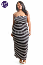 Plus Size Strapless Casual Striped Maxi Dress