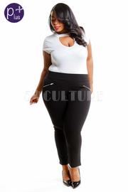Plus Size Double Zipper Side Solid Pants