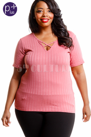 Plus Size Cross Straps Short Sleeved Top