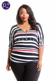Plus Size Zipper Down Striped Top