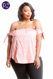 Plus Size Solid Off Shoulder Tie Detail Top