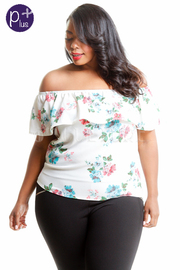 Plus Size Off Shoulder Floral Flounce Top