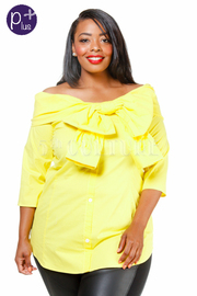 Plus Size Off Shoulder Summer Bow Solid Top