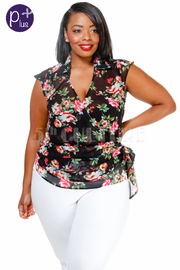 Plus Size Floral Sheer Wrap Blouse