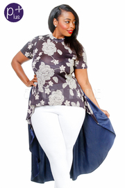 Plus Size Floral Hi Low Sheer Top