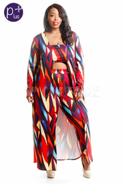 Plus Size Abstract Cropped Pants Cardigan Set
