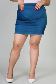 Plus Size Colorblock Denim Mini Skirt