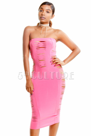 All Over Sliced Strapless Midi Dress
