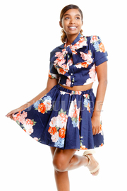 Button Down Floral Skater 2-Piece Skirt Set