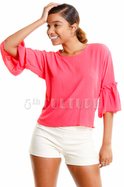 Flared Sleeved Solid Sheer Blouse