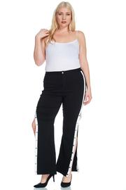Plus Size Snap Button Side Slit Palazzo Pants