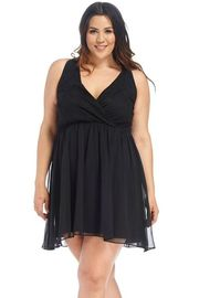 Plus Size Surplice Lacey & Sheer Solid Cinch Dress