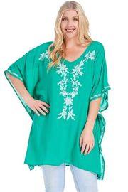 Plus Size V-neck Embroidery Kimono Loose Top