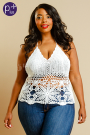Plus Size Looking Sexy On The Beach Knit Halter Top