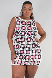 Plus Size Floral Pattern Knitted Sexy Dress