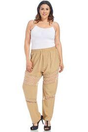Plus Size Laced Trim Woven Summer Pants