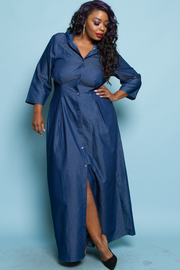 Plus Size Classic Collar Button Down Chambray Maxi Dress