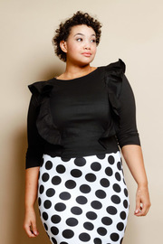 Plus Size Cute Ruffled Side 3/4 Sleeved Shirt