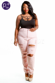 High Waist Solid Ripped Jeans