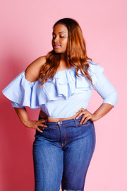 Plus Size One Shoulder Chambray Ruffled 3/4 Sleeved Top