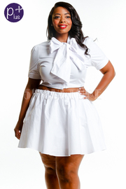 Plus Size Bow Tie Cropped Skater Mini Cropped Set