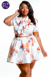 Plus Size Cute Floral Bow Tie Cropped Skater Skirt Set