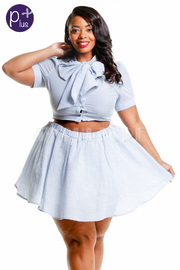 Plus Size Striped Denim Skater Cropped Mini Set
