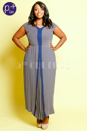 Plus Size V-neck Striped Maxi Dress