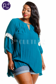 Plus Size Laced Trim Loose Top