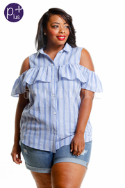 Plus Size Cold Shoulder Striped Collar Top