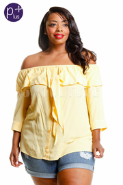 Plus Size Off Shoulder Ruffled Solid Top