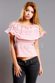 Sweet Pleated Crochet Flounce Top