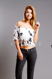 Off Shoulder Floral Cropped Top