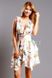 Sweet In Floral Asymmetric Dress
