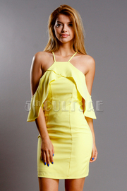 Open Shoulder Flounce Tube Dress