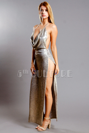 Sexy Metallic Halter Maxi Slit Side Dress