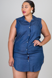 Plus Size Button Down Chambray Tunic Dress