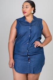 Plus Size Button Down Chambray Tunic Dress