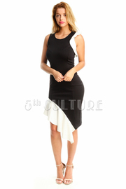 Contrast Asymmetric Tube Midi Dress