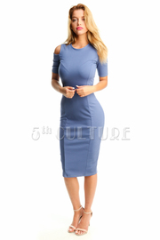 Cold Shoulder Cute Midi Tube Dress