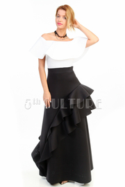 Off Shoulder Flounce Ruffled Sided Maxi Ponti Dress