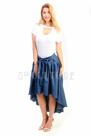 Casual Hi Lo Chambray Tie Skater Skirt