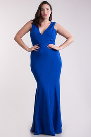 Plus Size V-neck Mermaid Lined Stitch Maxi Dress