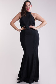 Plus Size Laced Insert Mermaid Maxi Cocktail Gown