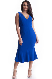 Plus Size Unique Lined V-neck Mermaid Midi Dress