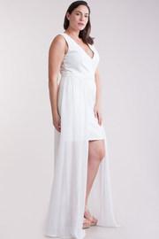 Plus Size Deep V Mini Sheer Maxi Tail Sexy Dress
