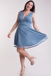 Plus Size Mesh Cutout Fit & Flared Dress