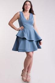 Plus Size Deep V Neck Flirty Layered Ruffle Dress